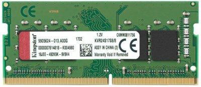 Оперативна пам'ять Kingston SODIMM DDR4-2400 8192MB PC4-19200 (KVR24S17S8/8)