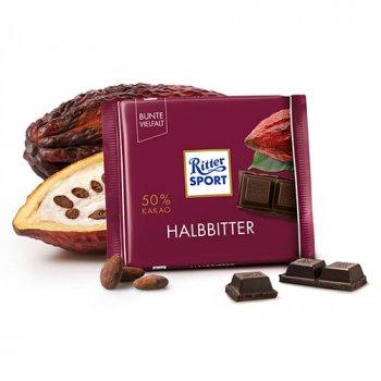 Шоколад черный 50% какао Ritter Sport Halbbitter 100г (00-00000274)