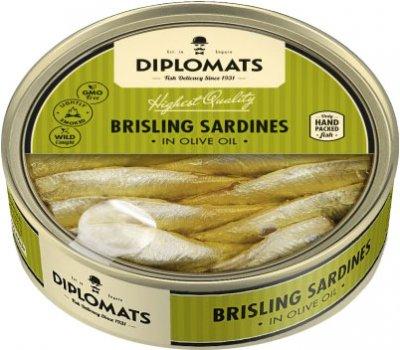 Сардины Diplomats подкопченные в оливковом масле 160 г (4750010000182)