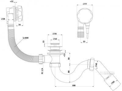 Сифон для ванны ANI PLAST EM311