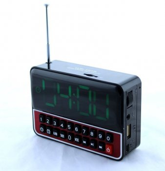 Портативна колонка годинник MP3 плеєр Спартак WS-1513 Black
