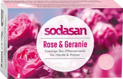 Органическое омолаживающее крем-мыло для лица и тела Sodasan Роза-Герань 100 г (4019886190077)