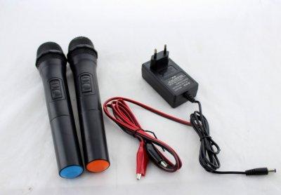 """Акустическая система аккумуляторная колонка 15"""" 2 радио микрофона USB FM UKC BT15A"""