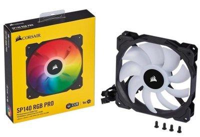 Вентилятор Corsair SP140 RGB Pro (CO-9050095-WW), 140х140х25мм, 3-pin, чорний з білим