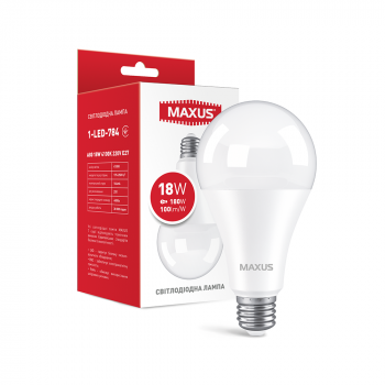 Світлодіодна лампа Maxus 1-LED-784 18W А80 4100K 220V E27 (59632)