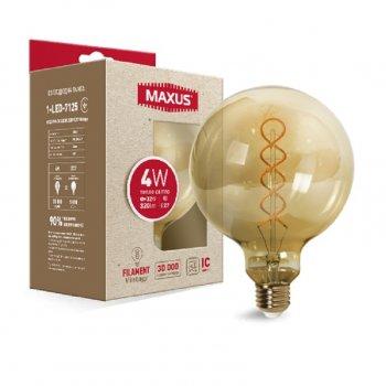 Филаментная лампа арт деко Maxus G125 Fm 4W 2200K 220V E27 Vintage (1-Led-7125) 93644