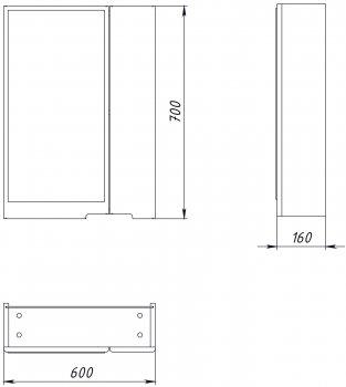 Зеркальный шкаф ВанЛанд Просто Прз 1-60 (левый)