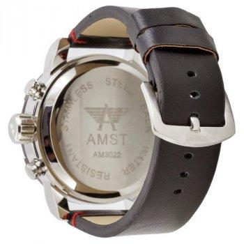 Мужские армейские часы водонепроницаемые противоударные AMST 3022 Silver-Black Smooth Wristband original