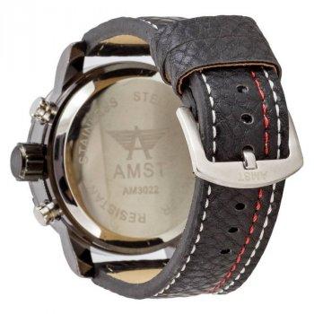 Чоловічі армійські годинник водонепроникні протиударні AMST 3022 Black-Red Fluted Wristband original