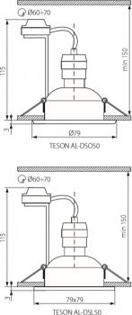 Світильник точковий Kanlux Teson AL-DSL50 (KA-7373)