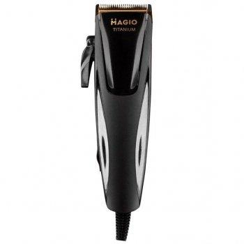 Машинка для стрижки волос Magio MG-591 Black 25 Вт титановые ножи питание от сети 220 В антискользящая ручка регулятор длины + 4 насадки (MG-591)
