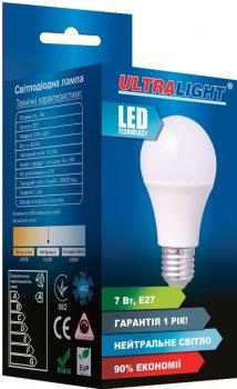 Світлодіодна лампа Ultralight LED A60 7 W 4100 K E27 ЕКО (UL-49301)