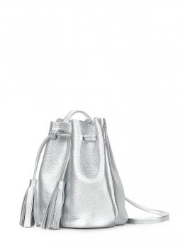 Кожаная сумочка на завязках Poolparty Bucket Серебряная