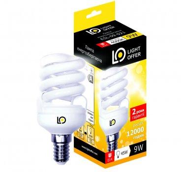 Енергозберігаюча лампа Light Offer Т2 Spiral ЕSL 9W E14 4000К 470Lm (ЕSL - 09 - 021)