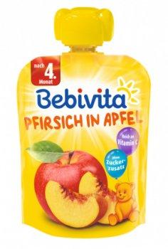 Фруктове пюре Bebivita Pouch Персик-яблуко, 90 г (213357)