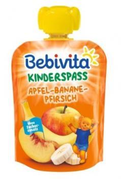 Фруктове пюре Bebivita Pouch Яблуко-банан-персик, 90 г (111471)