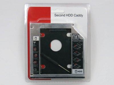 "Карман-адаптер для установки жесткого HDD 2.5"" SATA в отсек mSATA DVD-RW привода 12.7mm. Оптибей (optibay), Second HDD, SSD caddy! В блистере. (60321)"