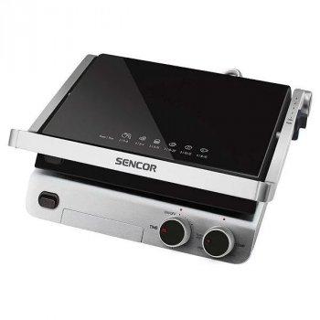 Гриль Sencor SBG5000BK контактний з 2 антипригарними знімними пластинами (гладка і рифлена) + відкриття на 180° + терморегулятор + таймер + індикатори нагріву і роботи + нековзна опора 2000 Вт
