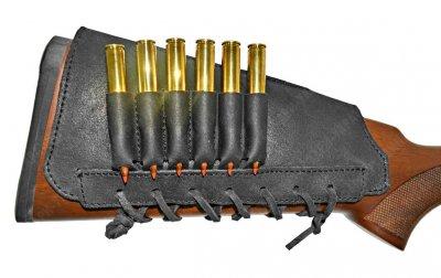 Патронташ на приклад кожа Ретро со вставкой нарезные черный (10205/1)