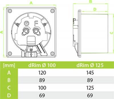 Вытяжной вентилятор AirRoxy dRim 100 TS BB с таймером
