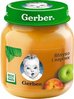 Упаковка фруктового пюре Gerber Яблуко та персик з 6 місяців 130 г х 12 шт. (7613033514906)