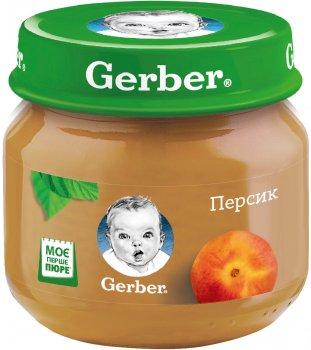 Упаковка фруктового пюре Gerber Персик з 6 місяців 80 г х 12 шт. (7613033514005)