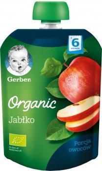 Упаковка фруктового пюре Gerber Органічне яблуко з 6 місяців Пастеризоване 90 г х 7 шт. (7613036087414)