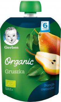 Упаковка фруктового пюре Gerber Органічна груша з 6 місяців Пастеризоване 90 г х 7 шт. (7613036087742)