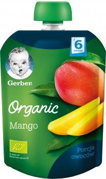 Упаковка фруктового пюре Gerber Органічне манго з 6 місяців Пастеризоване 90 г х 7 шт. (7613036088152)