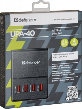 Сетевое зарядное устройство Defender UPA-40 4хUSB 5V/2А (83537)