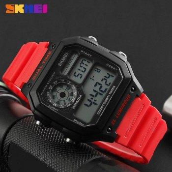 Чоловічі годинники Skmei 1299 Black-Red Wrisband