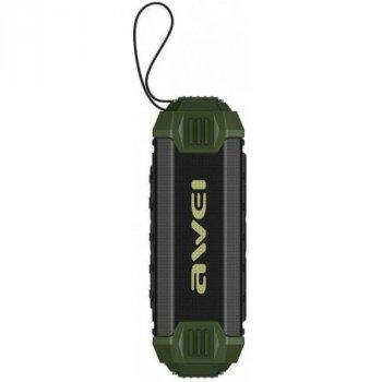 Портативна вологозахищена Bluetooth колонка з ремінцем для перенесення Awei Y280 New Line Зелений (2-КП124)