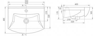 Раковина CERASTYLE Evita 55 см (Б00000319)