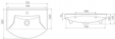 Раковина CERASTYLE Evita 75 см (HP0000025)