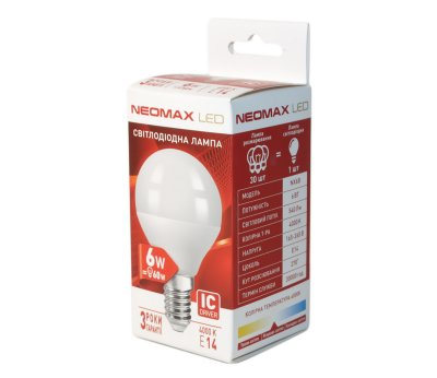 Лампа світлодіодна Neomax E14 6W 4000K R39 540 Лм 220V (6B-3)
