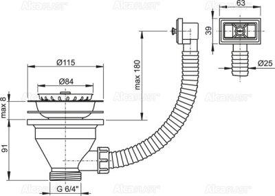 """Донный клапан для мойки ALCA PLAST 6/4"""" с нержавеющей решеткой DN115 и гофропереливом (8594045936292)"""