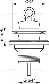 """Донный клапан для умывальника ALCA PLAST 5/4"""" с нержавеющей решеткой D63 (8594045933475)"""