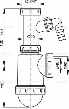 """Сифон для кухонной мойки ALCA PLAST A443P-DN50/40 с накидной гайкой 6/4"""" (2310351100100)"""