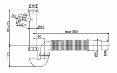 """Сифон для кухонной мойки ALCA PLAST A83-DN50/40 с накидной гайкой 6/4"""" (8594045935486)"""