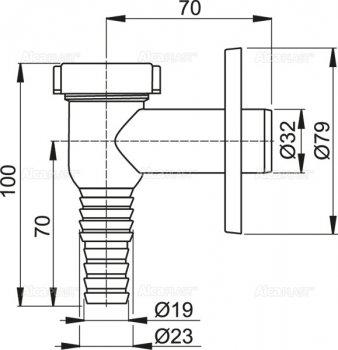 Сифон для стиральной машинки ALCA PLAST APS1 наружный (8594045933710)