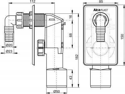Сифон для стиральной машинки ALCA PLAST APS4 (8594045931402)