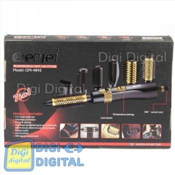 Повітряний фен щітка стайлер для волосся мультистайлер GEMEI GM-4842 7 в 1 Чорна Золота