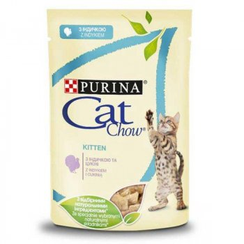 Влажный корм для котят Cat Chow Kitten с индейкой и кабачками в желе 24 шт(упаковка) (300405up)