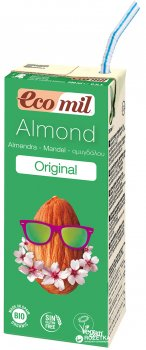 Органическое растительное молоко Ecomil Миндальное с сиропом агавы без сахара 200 мл (8428532230023)