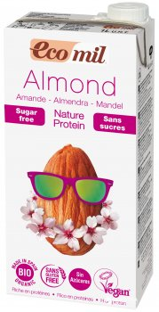 Органическое растительное молоко Ecomil Миндальное с протеином без сахара 1 л (8428532230245)