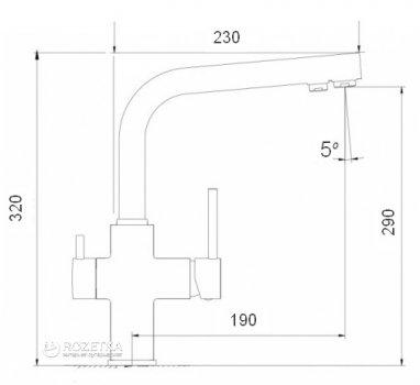 Кухонний змішувач з підключенням до фільтру GLOBUS LUX GLLR-0888 ONIX