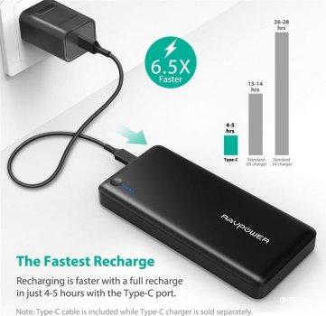 УМБ RavPower Xtreme 26800mAh PD Portable Charger Black (RP-PB058)