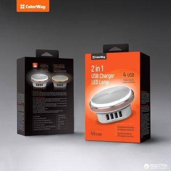 Сетевое зарядное устройство со светодиодной лампой ColorWay 4 USB 4.4 A White (CW-CHL44A)