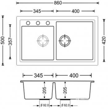 Кухонна мийка APELL Pietra Plus 860x500 PTPL862GW