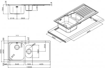 Кухонна мийка APELL Venezia 1000x500 VE1002IRAC декор правобічна